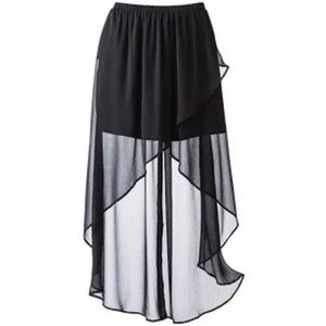 Black High Low Maxi Skirt Size M NWT